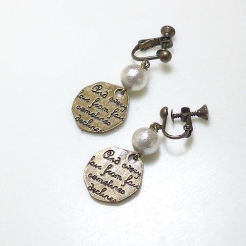 Luna.コットンパールと刻印プレートのイヤリング