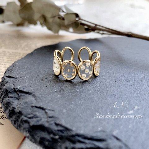 パール×ゴールドブリオン デザインリング 指輪