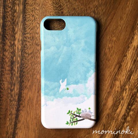空と風が待ってるから★鳥・水色・小鳥・青空★水彩な北欧スマホケース iPhone7/8/SE2/X/XS/11/12/Xperia/Galaxy/AQUOS等