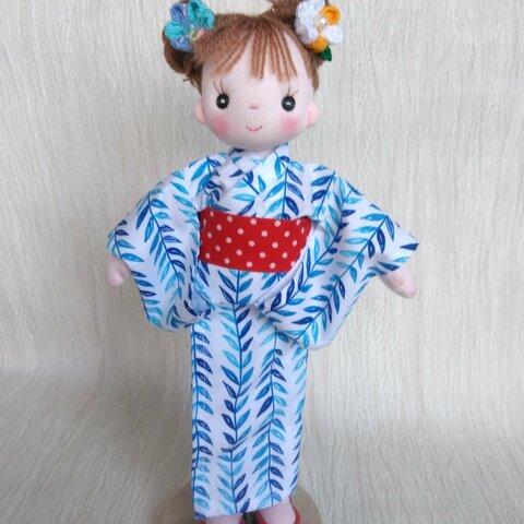 【送料込み】着せ替え布人形 パセリちゃん用 浴衣セット(朝顔) 手作り人形 布人形 ハンドメイドドール