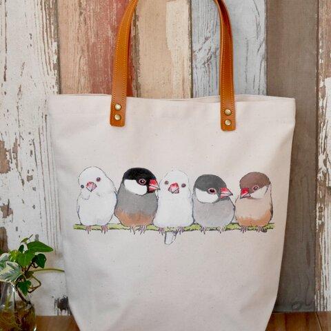 ふんわり文鳥のシンプルトートバッグ