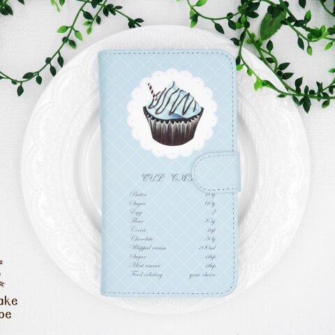 本物のお菓子のレシピを描いた手帳型スマホケース(ベルトあり、多機種対応)チョコミントカップケーキ黒