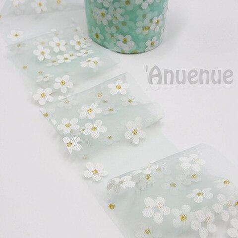 フラワーチュールリボン【 Sakura / Mint Green】60mm×2m