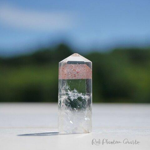 天然石レッドファントムクォーツ高さ約20mm約1.4g赤富士入り水晶(南インド グントゥール産)赤幻影水晶研磨ポイント透明クリスタル鉱石アクセサリー鉱物インテリア素材[rfq-211004-06]