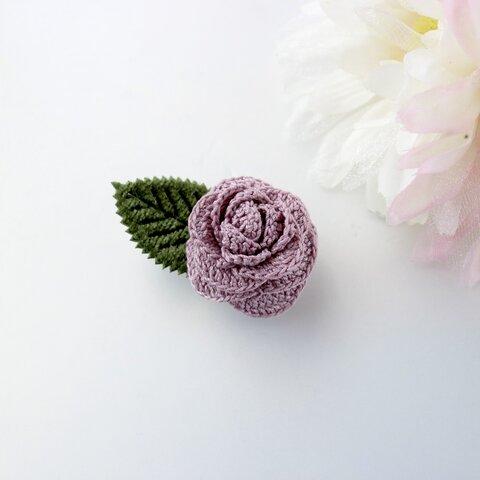 七色のお花*2wayブローチ*ローズ(パープル)