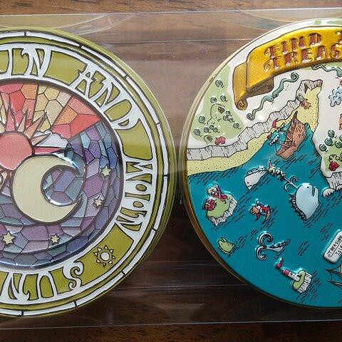 ☆カルピスバターのショートブレッド缶&ラスク缶 (お菓子のミカタ・アドベンチャー缶、太陽と月缶)
