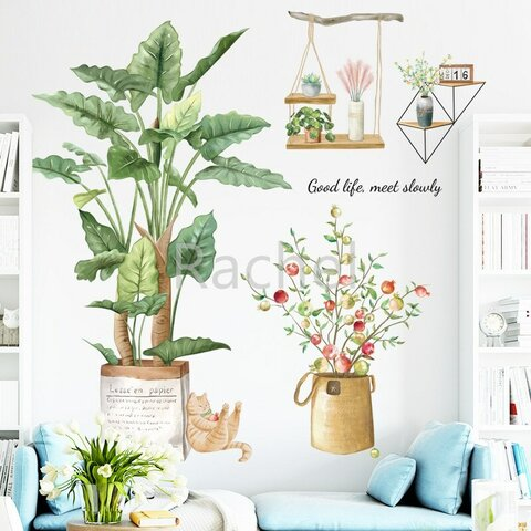 ウォールステッカーF33 猫 観葉植物 ナチュラル グリーン 送料無料 剥がせるシール 壁シール インテリア雑貨