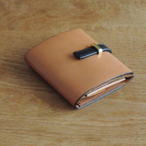 再販!<高級革>イタリアレザー使用の薄いミニ財布!キャメル色