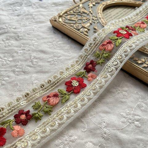インド刺繍リボン 花 インド刺繍 スパンコール 刺繍リボン リボン りぼん