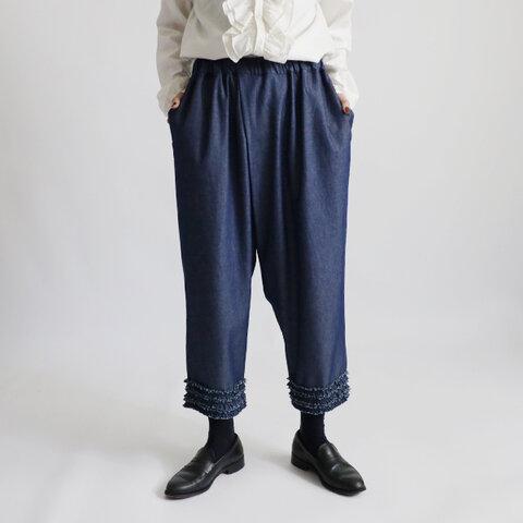 深まる秋SALE『大人甘めのふりフリル小花パンツ』88cm丈 コットン100%甘織デニムDENIM ゆったり H88◎