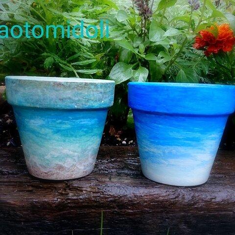 海と空の、小さな植木鉢(4号鉢)