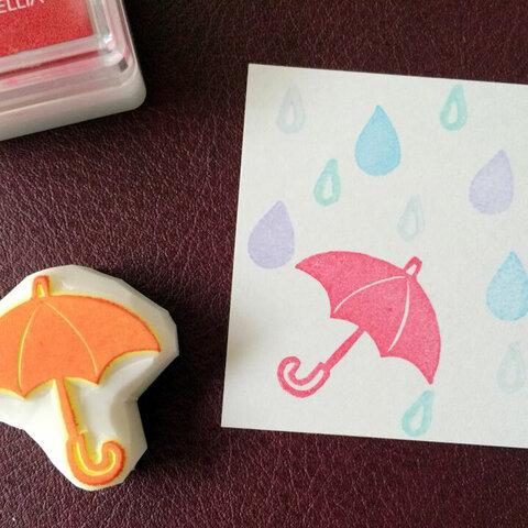 雨傘と雨粒の消しゴムはんこ3点セット(持ち手つき)