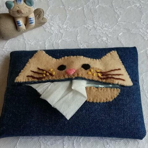 猫の顔、ポケットティッシュカバー