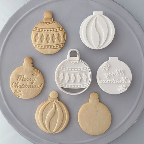 【クリスマス】オーナメント ボール型 クッキー型(フレーム+選べるスタンプ付き)