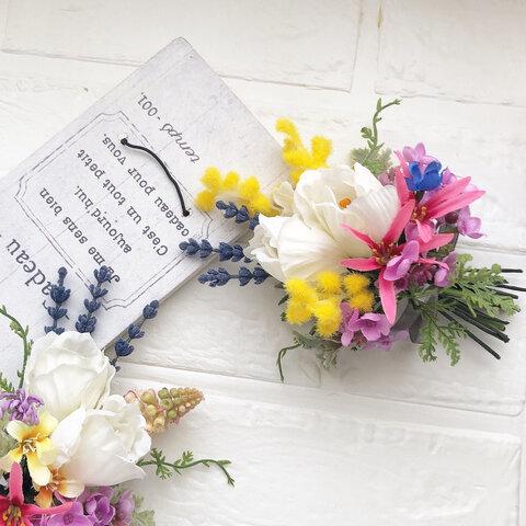 小さな花束*ミモザとチューリップ*アーティフィシャル