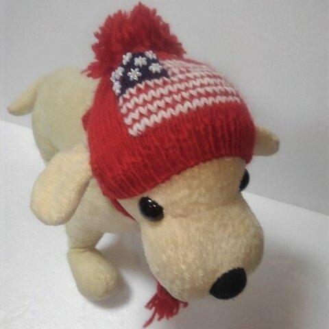 真赤なアメリカ国旗柄のワンちゃん帽子(CAP-36)