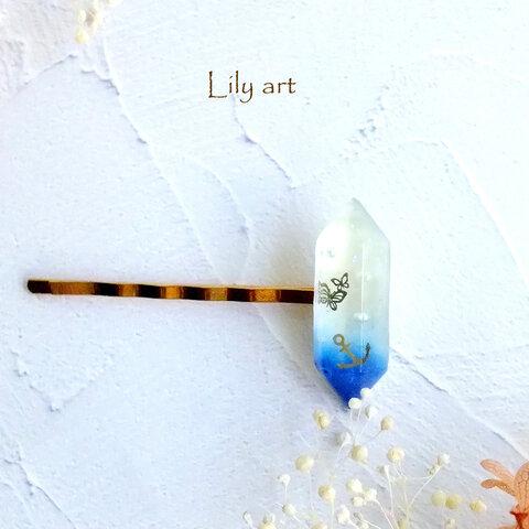 蝶と夏の海の宝石型ヘアピン