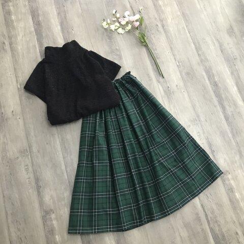 グリーン タータンチェック の 大人っぽかわいい ギャザースカート
