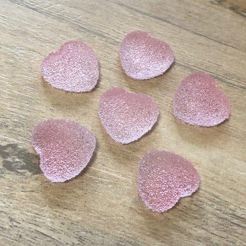 ライトピンク 樹脂 ハート グミ キャンディー デコパーツ 6個セット