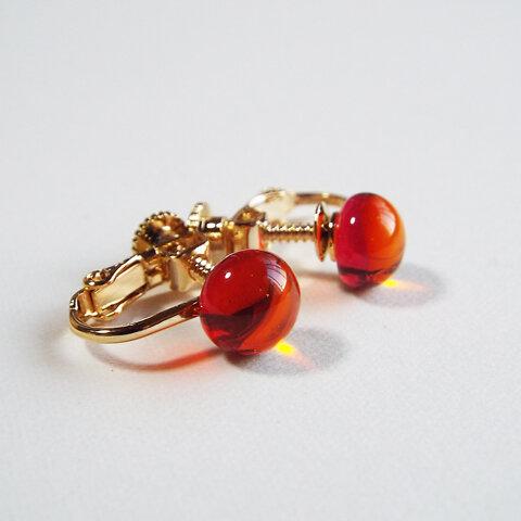 kasane・オレンジ/ガラスのイヤリング