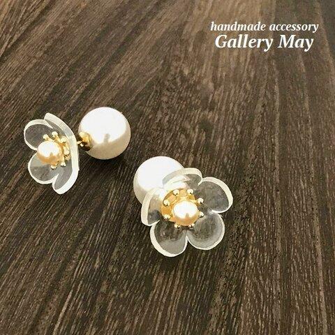 ガラスみたいなお花 サンカヨウのパールキャッチピアス サージカルステンレス アレルギー対応 ブライダル ウエディング  結婚式 和服 和装