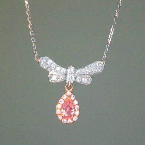リボンモチーフ 天然ピンクダイヤモンドネックレス0.328ct k18
