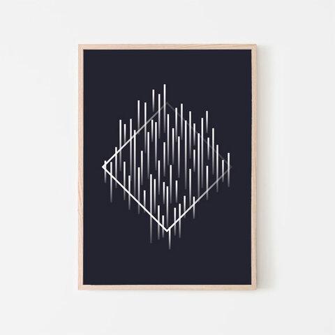ジオメトリックパターン / アートポスター カラー ミニマル インテリア 2L〜 アブストラクト 幾何学 ダイヤ型 ひし形