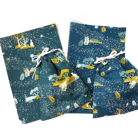 星空のカンガルー【サイズ、カラーが選べるランチマットと巾着2点セット】【小学校 幼稚園 保育園準備 給食セット】