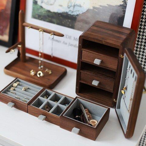 冷蔵庫のデザイン 木製アクセサリー収納 イヤリング ジュエリーボックス ウオルナットウッド