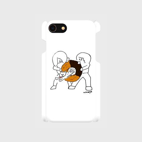 iPhoneケース「争う二人、飛ぶ一匹」