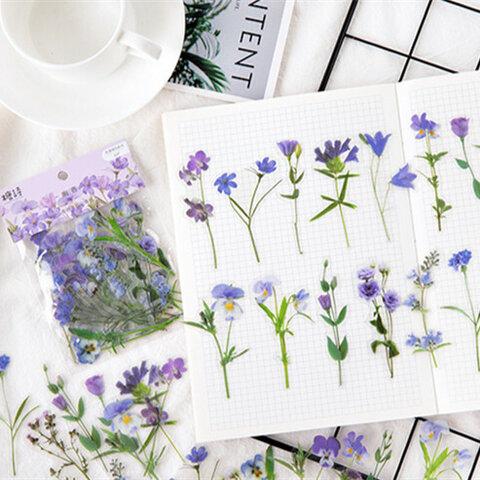 可愛いお花のPETフレークシール  紫40枚