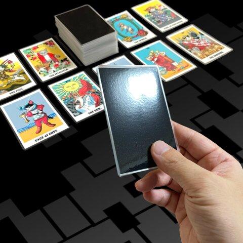 78枚 猫タロットカード (S) フルデッキ  コンパクトサイズ ブラック