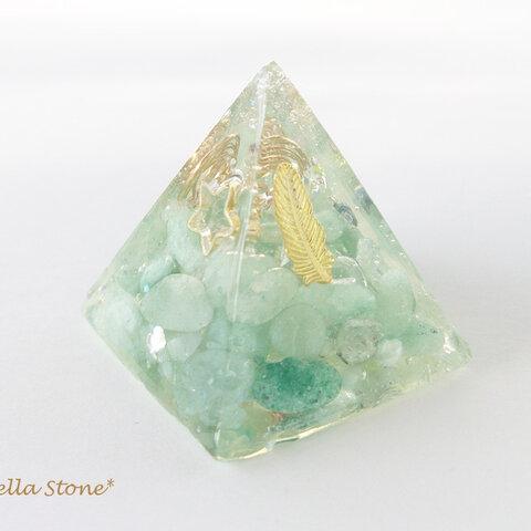 天使の羽☆オルゴナイト・ピラミッド*水晶*アベンチュリン*ラリマー*樹脂レジン*宇宙*天然石*パワーストーン