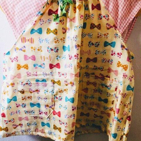 幼稚園☆Wガーゼ★スモッグ☆半袖☆90~110cm位☆リボン柄xピンクチェックのお袖