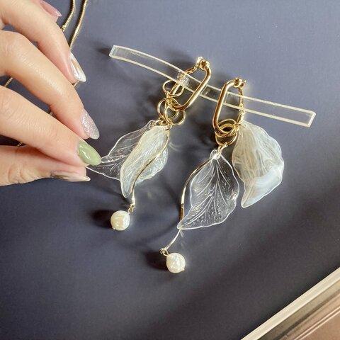 組み合わせ自由♢ Angel's wing ×淡水パール♢earring or pierce
