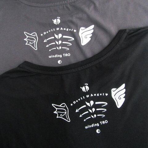☆暗闇で光る☆ テンシとアクマの肩甲骨ドルマンTシャツ【黒/Mサイズ】