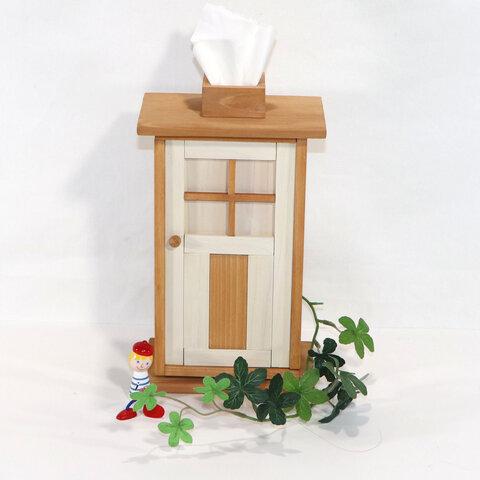 かわいい扉のティッシュケース縦型(オフホワイト&カーキ)☆kaguシリーズ