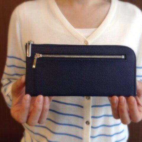 薄くて軽くて大容量な長財布 14枚カードポケット 牛革 ネイビー Squeeze スクイーズ 日本製