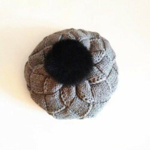 【受注生産】【Lady's】ほっこりあたたかベレー帽 濃いグレー