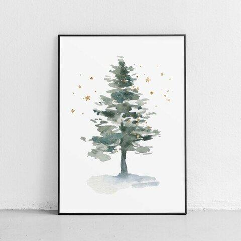 Xmas ポスター【ツリー】大人気! 休日 星  もみの木 イラスト 水彩 クリスマス 森 自然 風景 Christmas