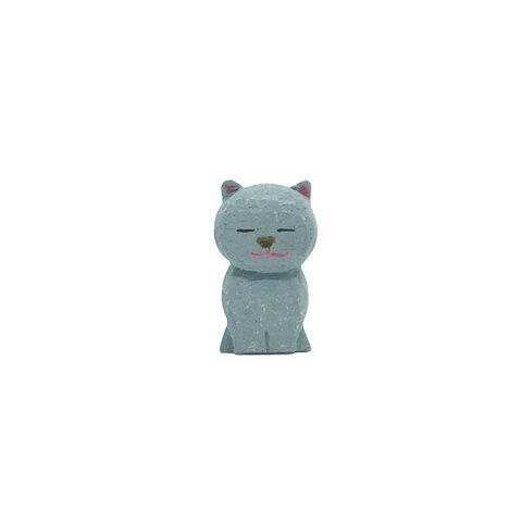 地蔵アニマル 猫 ブローチ ( グレー)