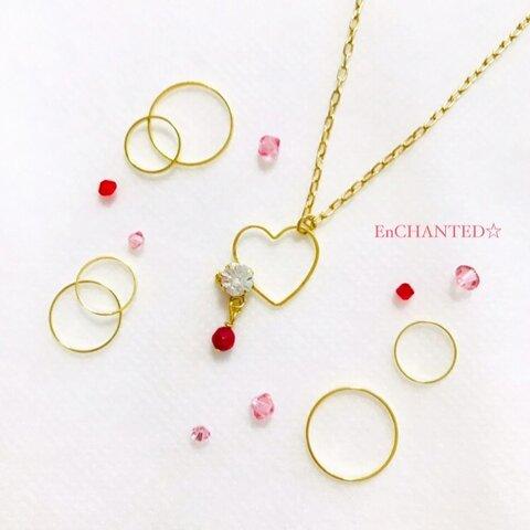 【送料無料】魔法の赤とキラキラハート*ダイヤモンドカット ネックレス