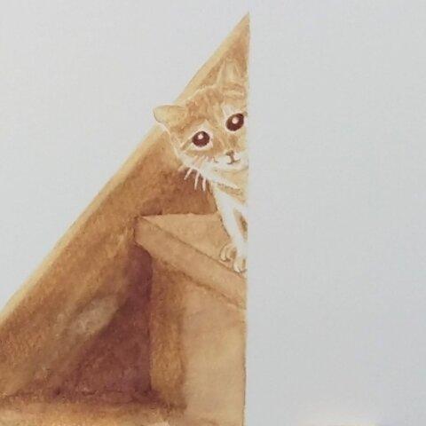 コーヒー で描いています『ほっこりするね』 ポストカード 猫 ねこ ペット コーヒー画 秋 アート 絵 イラスト 水彩画 ハガキ 【選べる2枚】