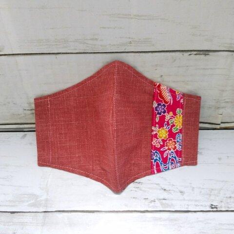 【サイズが選べる】紅型柄(松竹梅)ラインの立体布マスク(ピンク系カラー&桃色ライン)