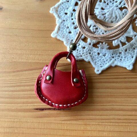 ミニチュアぷっくりバッグのネックレス ◆レッド