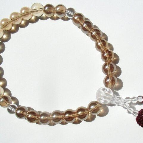 再販 念珠・数珠 天然石 葬祭用お数珠 正絹房 シャンパンオーラ 10mm