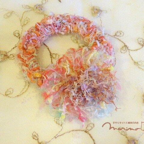 手染め糸のコサージュみたいなかわいいシュシュ [chu2003PK]