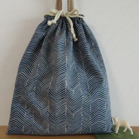 [再販・受注製作] お着替え袋 (35×30) ☆ ブルーのジグザグ