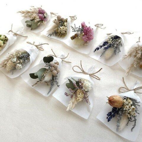 ミニブーケ アンティーク調アソート 結婚式 ミニ花束 席札 ドライ&プリザーブドフラワー ウェディング bouquet010