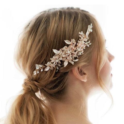 RE25 小枝 ウェディング ヘッドドレス ブライダル ヘアアクセサリー リーフ 花 ゴールド ナチュラル 結婚式 前撮り 花嫁  RE25